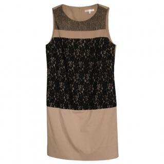 Paule Ka Tan Shift Dress W/ Black Lace Overlay