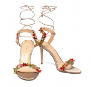Charlotte Olympia Antique rose Lace-up embellished sandals