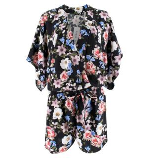 Guess Black Floral Playsuit