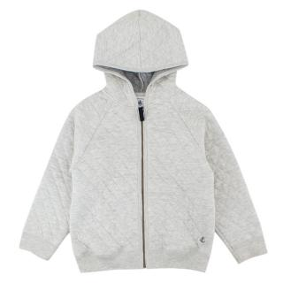 Petit Bateau Boys 5Y Grey Cotton Zipped Hoodie