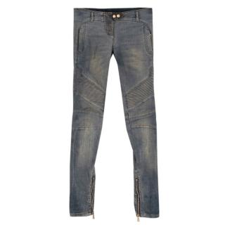 Balmain Distressed Ribbed Skinny Jeans