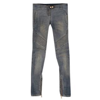 Balmain Distressed Ribbed Skinny Jeans