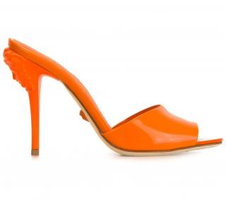 Versace Orange Medusa Mules