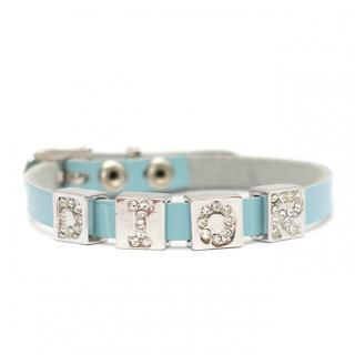Bespoke Baby Blue Leather Dior Embellished Bracelet