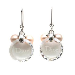 Dior Clear Crystal & Pearl Drop Earrings