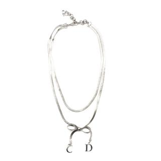 Christian Dior Double Chain Bow Charm Necklace