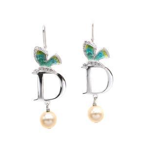 Dior silver Tone Butterfly & Pearl Earrings