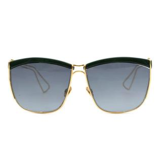 Christian Dior So Electric Gold & Green Square Sunglasses