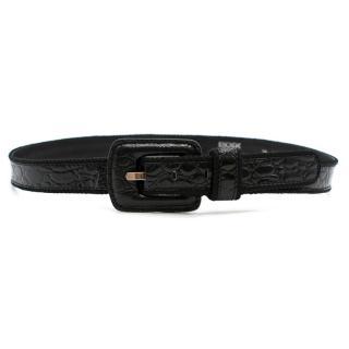 Escada Thin Black Snakeskin Print Patent Leather Belt