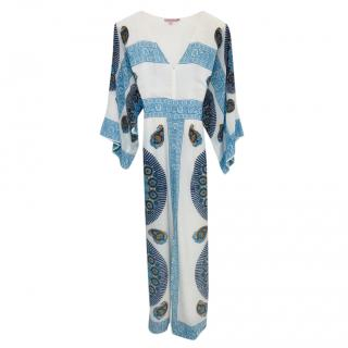 Calypso White & Blue Printed Silk Dress
