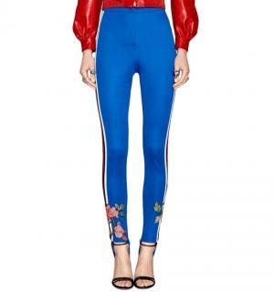 Gucci Blue Floral Embroidered Web Stripe Stirrup Leggings