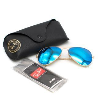 Ray-Ban Aviator Blue Flash Lense Sunglasses