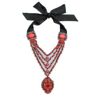 Elie Tahari Red Bead Embellished Tulle Necklace