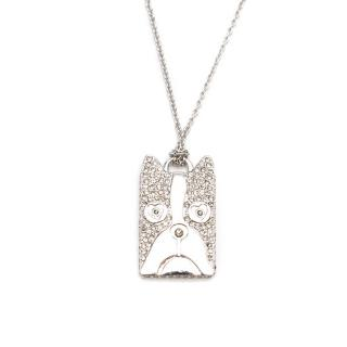 Marc by Marc Jacobs Workwear Crystal Embellished Dog Tag Necklace