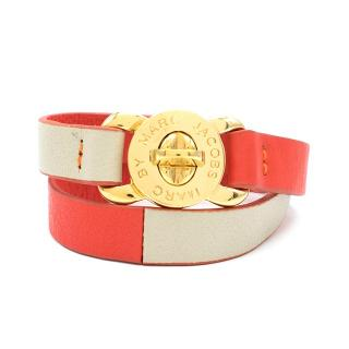 Marc by Marc Jacobs Red Leather Double Wrap Bracelet