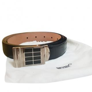 Mont Blanc Black Alligator Leather Belt