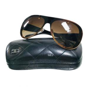 Chanel Brown Round Oversize Sunglasses