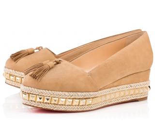 Christian Louboutin Carmel Ca 70 Noisette Suede Platform Shoes