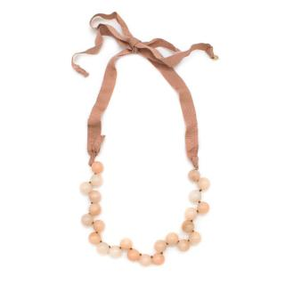 J Crew Pale Pink Glass Marble Ribbon Necklace