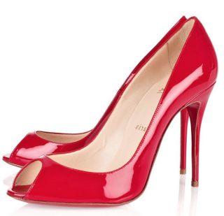 Christian Louboutin Sexy 100 Patent Leather Mandarin Red Pumps