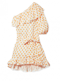 Lisa Marie Fernandez Ruffled One-shoulder Yellow Dot Linen Mini Dress