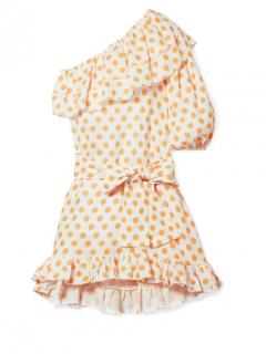 Lisa Marie Fernandez Ruffled One-shoulder Yellow Dot Linen Mini Dress