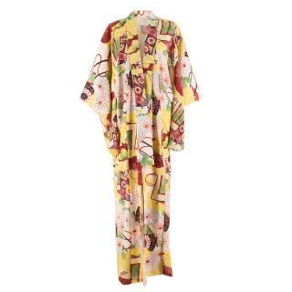 Bespoke Floral Yellow Silk Blend Kimono