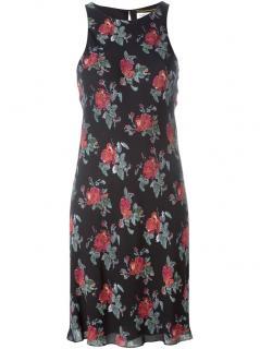 Saint Laurent rose print silk blend shift dress