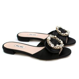 Miu Miu Black Satin Embellished Slides