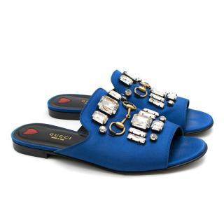 Gucci Blue Satin Embellished Slides