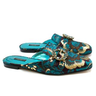 Dolce & Gabbana Blue Crystal Embellished Brocade Slippers