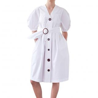 Isa Arfen White Cotton Poplin Dress with Contrasting Buttons