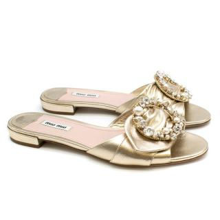 Miu Miu Metallic Crystal Embellished Slides