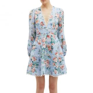 Zimmermann 'bowie' Floral Print Scalloped Trim Linen Dress