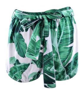 Dolce & Gabbana banana leaf print silk shorts