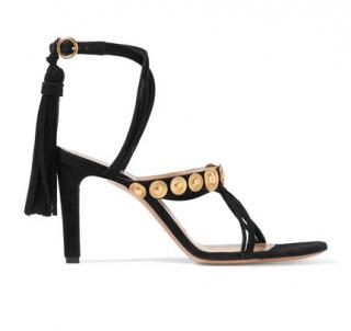 Chloe Black Suede Disc Embellished Tassled Sandals