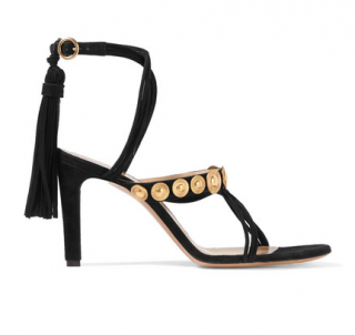 Chloe Black Suede Disc Embellished Tassled Sandals