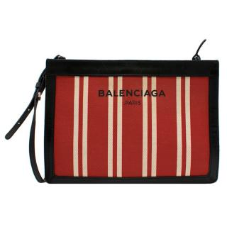 Balenciaga Leather-Trimmed Striped Canvas Shoulder Bag in Red