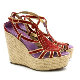 Hermes Red Embroidered Espadrille Wedges