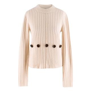 Joseph Beige Wool Knit Ribbed Button Sweater