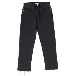 RE/DONE Originals High Rise Ankle Crop with Stretch Black Jeans