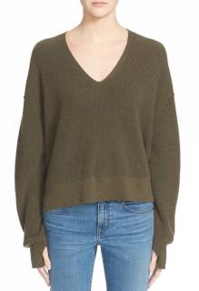 Helmut Lang Khaki Cotton & Cashmere Crop Sweater