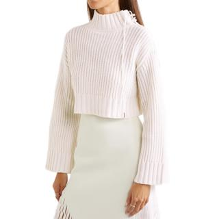 Dion Lee Aviation White Cropped Ribbed Wool-blend Turtleneck Sweater