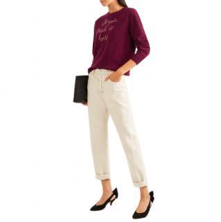Toteme White Button Straight Leg Jeans