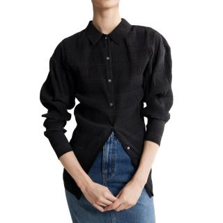 Toteme Black Pleated Shirt with Laser Cut Finish