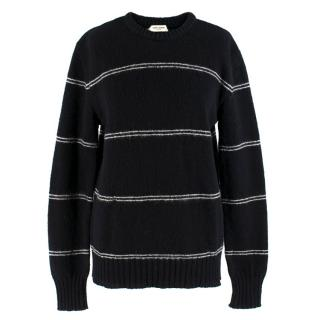 Saint Laurent Black Knit Striped Sweater