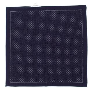 Brunello Cucinelli Navy Cotton Polka Dot Pocket Square
