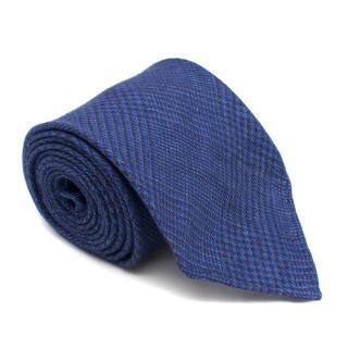 Emma Willis Blue Linen Pattern Tie