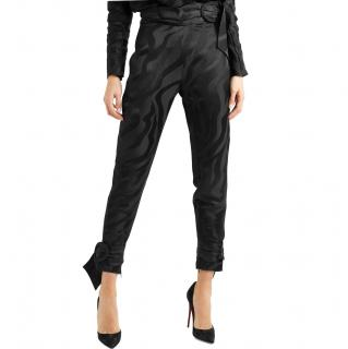 Carmen March Ruffle-trimmed jacquard trousers