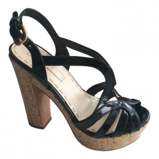 Prada Cork Platform Patent Sandals
